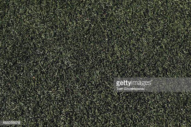 A detailed view of the artificial field turf before the Toronto Blue Jays MLB game against the Boston Red Sox on July 21 2014 at Rogers Centre in...