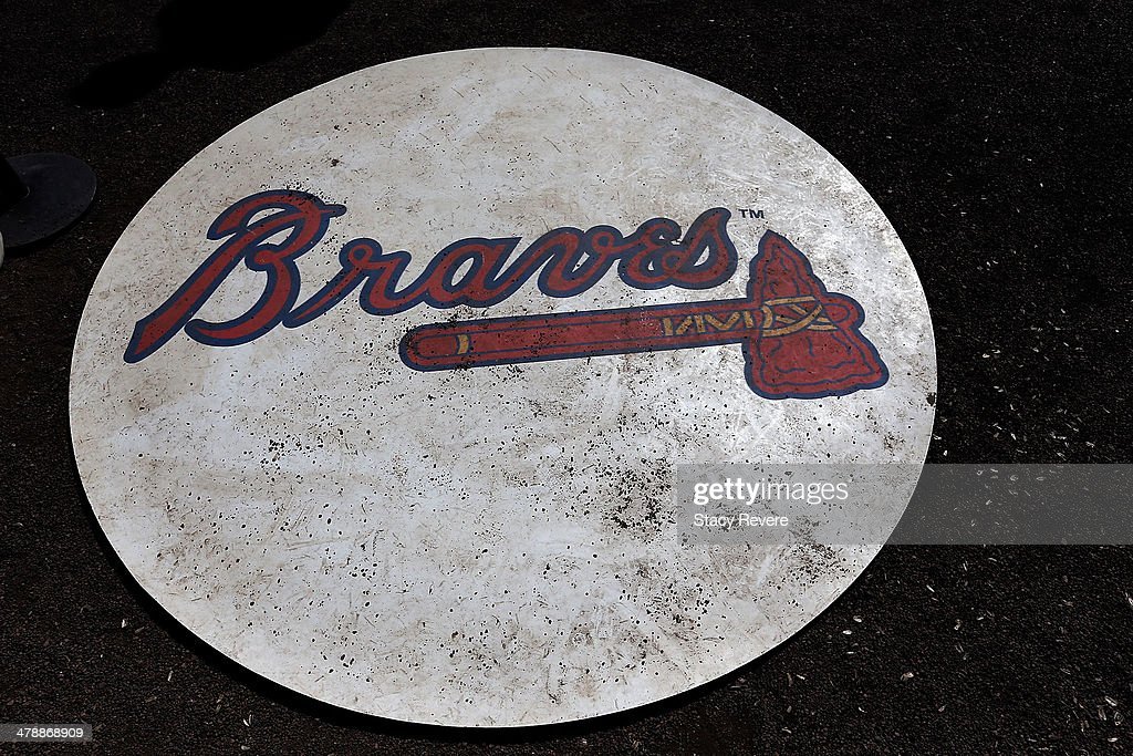 Detailed view of the Atlanta Braves mat in the on deck circle at Champion Stadium prior to a game against the Tampa Bay Rays on March 14, 2014 in Lake Buena Vista, Florida. Atlanta won the game 6-1.