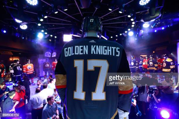 A detailed view of the back of the team jersey of the Vegas Golden Knights team during the Adidas X NHL Jersey Unveiling Party on June 20 2017 in Las...