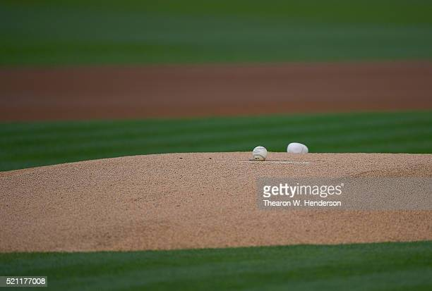 A detailed view of the baseball and rosen bag on the mound prior to the start of the game between the Los Angeles Angels of Anaheim and Oakland...