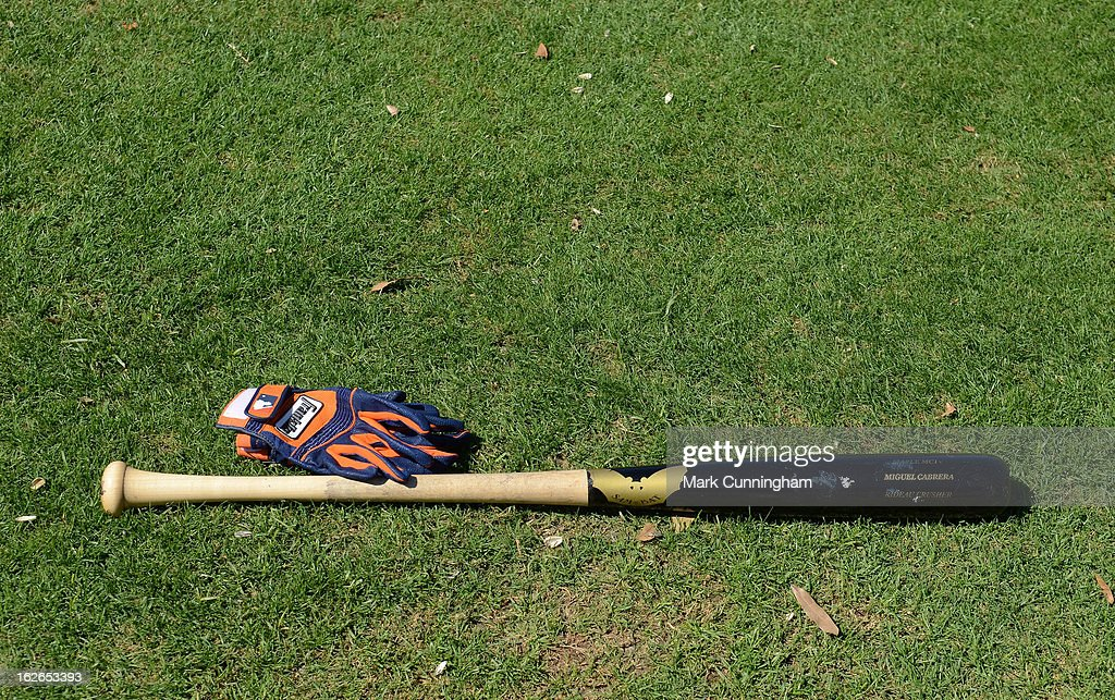 A detailed view of the baseball bat and batting gloves of Miguel Cabrera #24 of the Detroit Tigers during Spring Training workouts at the TigerTown Facility on February 18, 2013 in Lakeland, Florida.