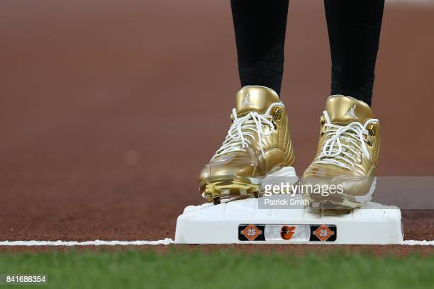 A detailed view of the baseball cleats of Manny Machado of the Baltimore Orioles before playing the Toronto Blue Jays at Oriole Park at Camden Yards...