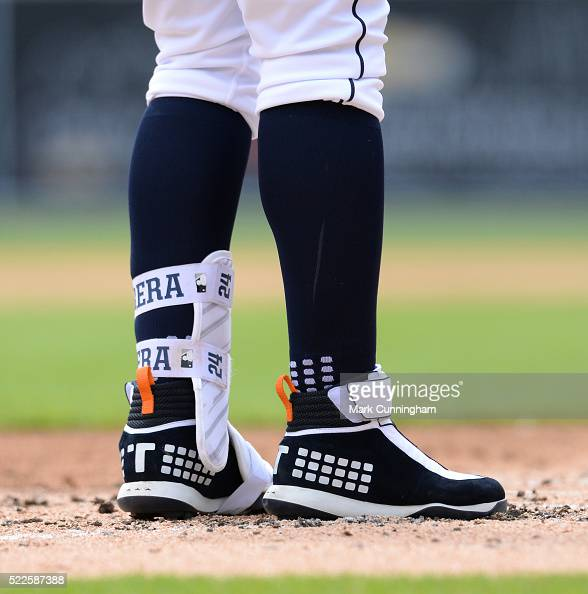 A detailed view of the baseball shoes and shin guard worn by Miguel Cabrera of the Detroit Tigers during the game against the New York Yankees at...