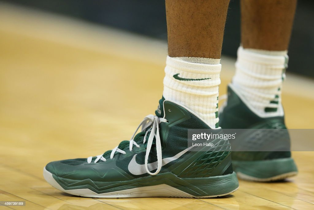 A detailed view of the basketball shoes worn by a member of the Michigan State Spartans during the second half of the game against the New Orleans Privateers at the Breslin Center on December 28, 2013 in East Lansing, Michigan. The Spartans defeated the Privateers 101-48.
