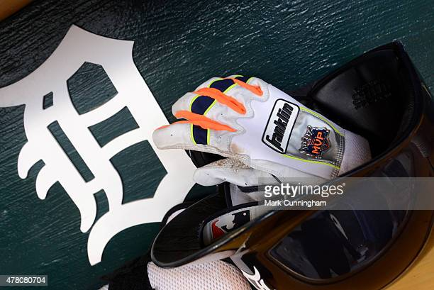 A detailed view of the batting helmet and Franklin batting gloves worn by Miguel Cabrera of the Detroit Tigers during the game against the Cleveland...