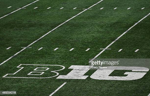 A detailed view of the Big Ten logo at Camp Randall Stadium prior to a game between the Wisconsin Badgers and the Purdue Boilermakers on October 17...