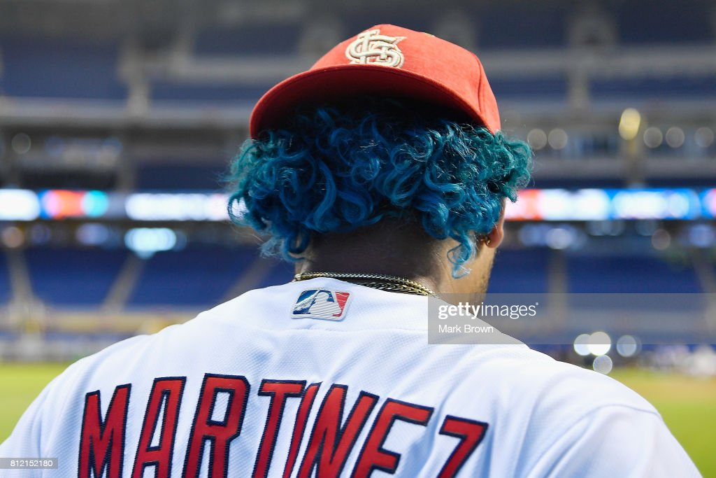 A detailed view of the blue hair of Carlos Martlnez #18 of the St. Louis Cardinals and the National League during Gatorade All-Star Workout Day ahead of the 88th MLB All-Star Game at Marlins Park on July 10, 2017 in Miami, Florida.