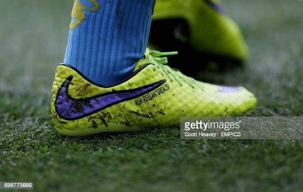 A detailed view of the boot of Aston Villa's Jack Grealish which reads 'RIP Keelan Grealish'