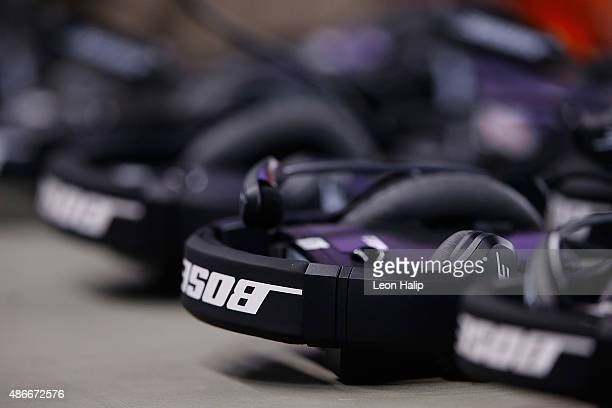 A detailed view of the BOSE headphones on the Buffalo Bills sidelines during the preseason game against the Detroit Lions on September 3 2015 at Ford...
