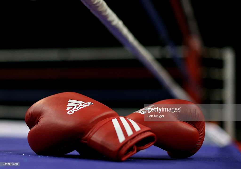 A detailed view of the boxing gloves ringside during day one of the Boxing Elite National Championships at Echo Arena on April 29, 2016 in Liverpool, England.