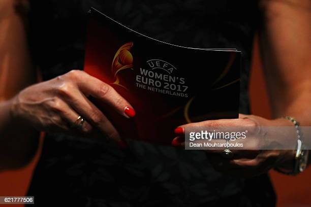A detailed view of the cards held by Dutch sports journalist Diana Kuip as she speaks on stage during the UEFA Women's EURO 2017 Final Tournament...