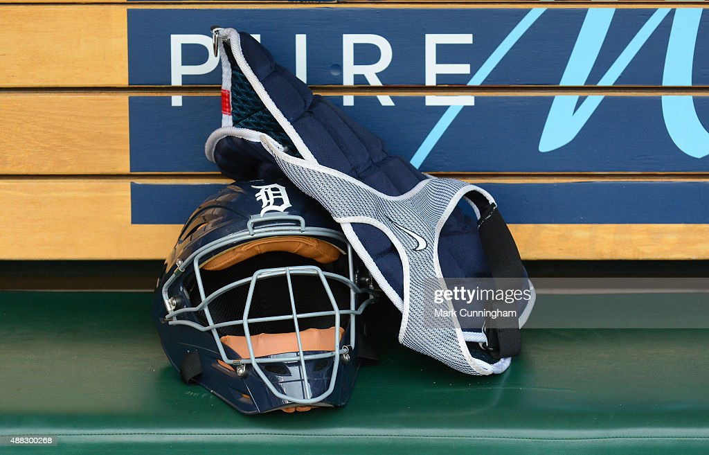A detailed view of the catchers gear worn by Alex Avila of the Detroit Tigers sitting in the dugout after the game against the Los Angeles Angels of...