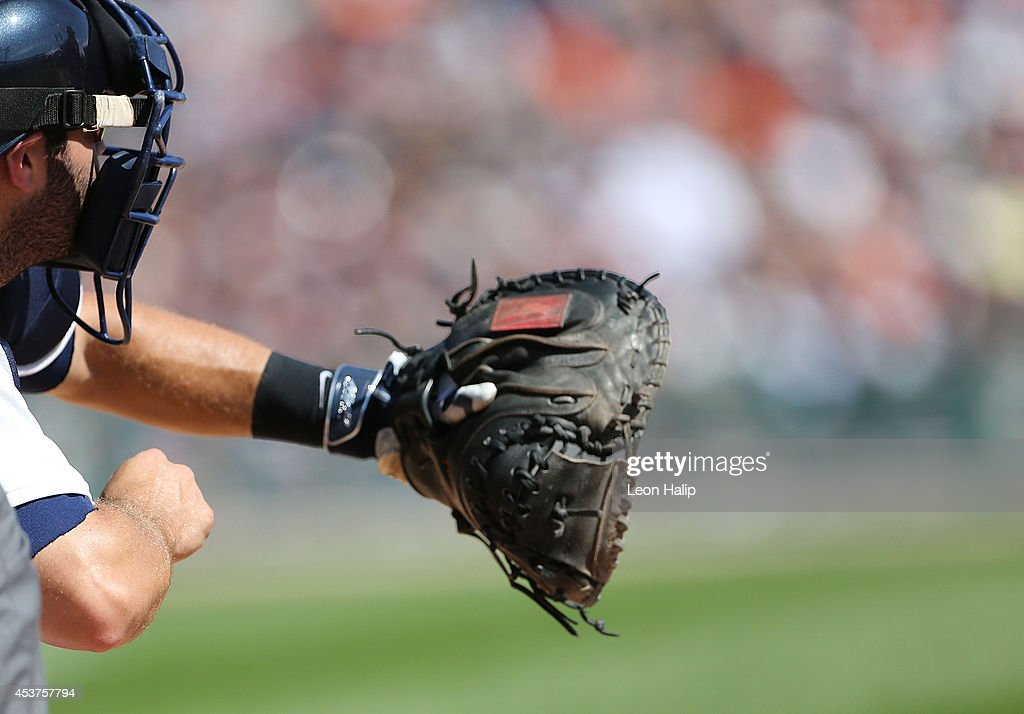 A detailed view of the catchers glove of Alex Avila of the Detroit Tigers during the eighth inning of the game against the Seattle Mariners at...