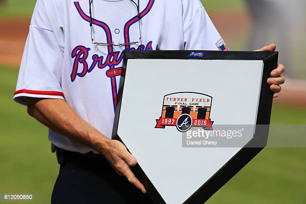 A detailed view of the ceremonial home plate prior to the game between the Atlanta Braves and the Detroit Tigers at Turner Field on October 2 2016 in...
