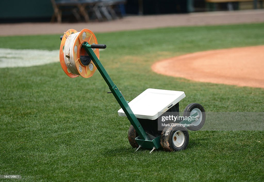A detailed view of the chalk machine used to line the base paths prior to the spring training game between the New York Yankees and the Detroit Tigers at Joker Marchant Stadium on March 23, 2013 in Lakeland, Florida. The Tigers defeated the Yankees 10-6.