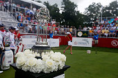 Detailed view of the championship trophy as Jodi Ewart Shadoff of England hits her tee shot on the first hole during the fourball session of the 2016...