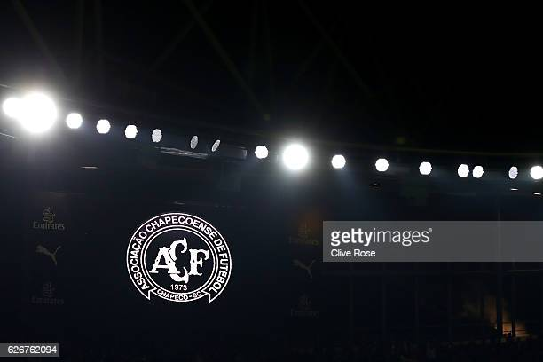 A detailed view of the Chapecoense badge during a minutes silence ahead of the EFL Cup quarter final match between Arsenal and Southampton at the...