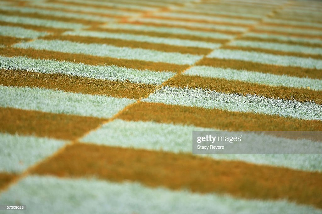 Detailed view of the checkered endzone at Neyland Stadium during a game between the Tennessee Volunteers and the Chattanooga Mocs on October 11 2014...
