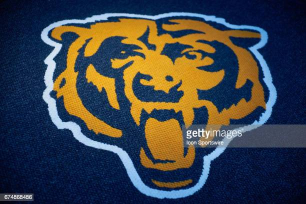 A detailed view of the Chicago Bears logo is seen in Halas Hall during the Chicago Bears first round draft pick quarterback Mitchell Trubisky Press...