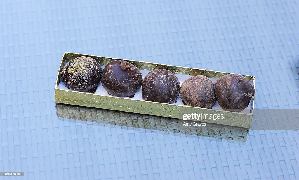 A detailed view of the chocolate truffles in the Spring 2013 'Spoiled and Entitled' clothing, jewelry and chocolate collection on December 19, 2012 in West Hollywood, California.