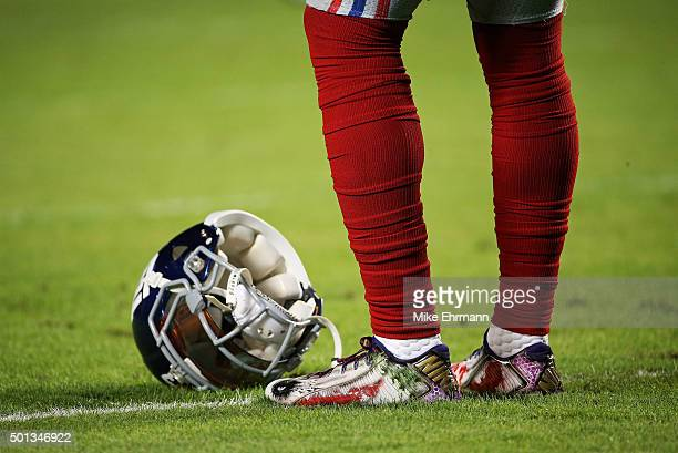 A detailed view of the cleats worn by Odell Beckham of the New York Giants before the game against the Miami Dolphins at Sun Life Stadium on December...