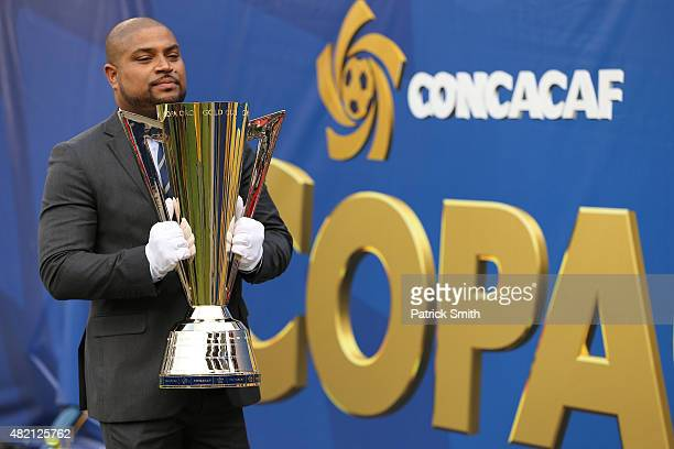 A detailed view of the CONCACAF Gold Cup Trophy before Mexico plays against Jamaica in the CONCACAF Gold Cup Final at Lincoln Financial Field on July...