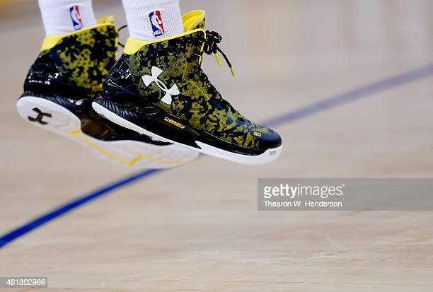 A detailed view of 'The Curry One' the signature shoe worn by Stephen Curry of the Golden State Warriors against the Cleveland Cavaliers at ORACLE...