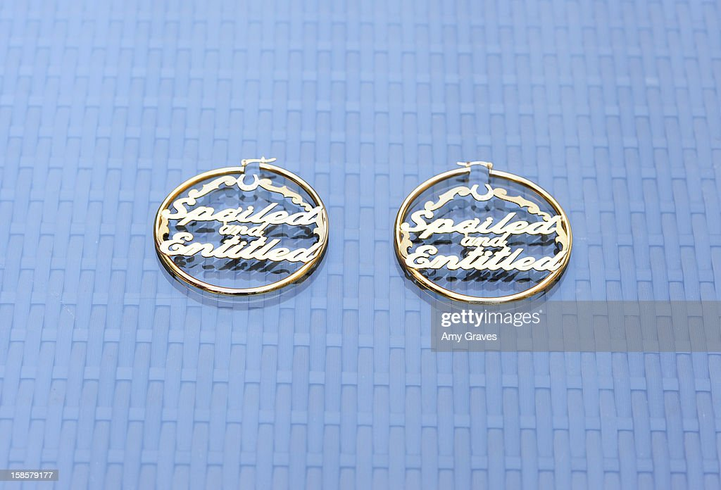 A detailed view of the earrings in the Spring 2013 'Spoiled and Entitled' clothing, jewelry and chocolate collection on December 19, 2012 in West Hollywood, California.