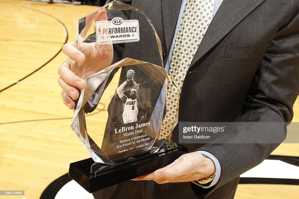 A detailed view of the Eastern Conference Kia Player of the Month award before being presented to <a gi-track='captionPersonalityLinkClicked' href=/galleries/search?phrase=LeBron+James&family=editorial&specificpeople=201474 ng-click='$event.stopPropagation()'>LeBron James</a> #6 of the Miani Heat (not pictured) prior to the game against the Sacramento Kings on February 21, 2012 at American Airlines Arena in Miami, Florida.