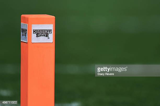 Detailed view of the endzone pylon during a game between the Mississippi State Bulldogs and the Texas AM Aggies at Davis Wade Stadium on October 4...
