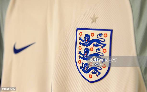 Detailed view of the England badge during the Final of the Toulon Tournament between England and France at Parc Des Sports on May 29 2016 in Avignon...