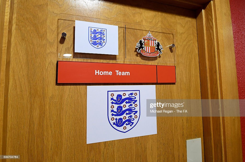 Detailed view of the england dressing room door ahead of the International Friendly match between England and Australia at Stadium of Light on May 27, 2016 in Sunderland, England.