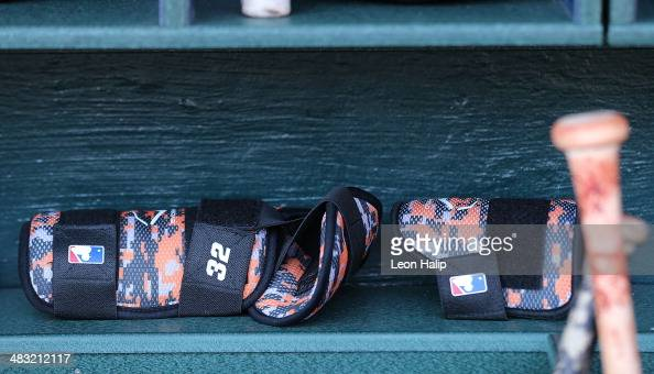 A detailed view of the Evoshield Batter's Leg Guard with Foot Ankle Shin Protection in the Baltimore Orioles dugout during the game against the...