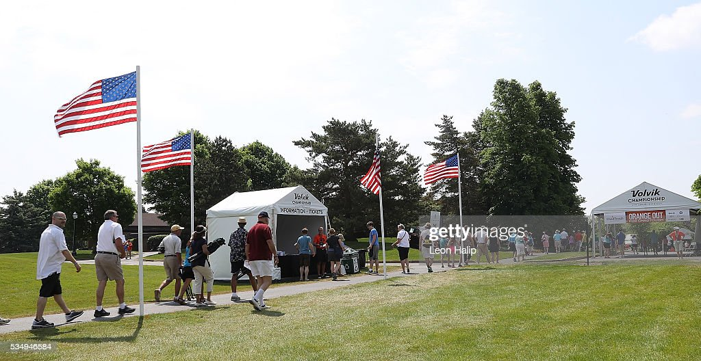 A detailed view of the fans entering Travis Pointe Country Club for the start of the third round of the LPGA Volvik Championship on May 28, 2016 at Travis Pointe Country Club in Ann Arbor, Michigan.