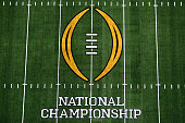 A detailed view of the field prior to the College Football Playoff National Championship Game between the Oregon Ducks and the Ohio State Buckeyes at...