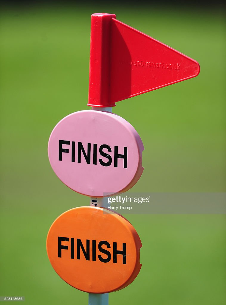 Detailed view of the finish line sign during the Mitsubishi Motors Cup Cross Country Race during Day One of the Badminton Horse Trials on May 4, 2016 in Badminton, Untied Kindom.