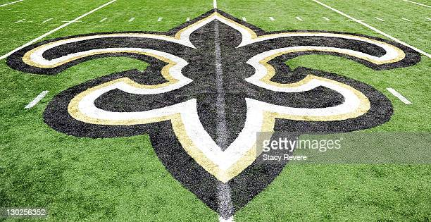 A detailed view of the Fleur de Lis during a game between the New Orleans Saints and the Indianapolis Colts being held at MercedesBenz Superdome on...