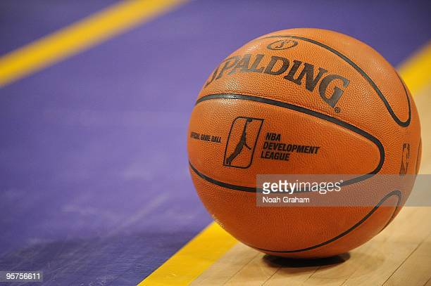 A detailed view of the game ball before the DLeague game between the Rio Grande Valley Vipers and the Los Angeles DFenders on January 3 2010 at...