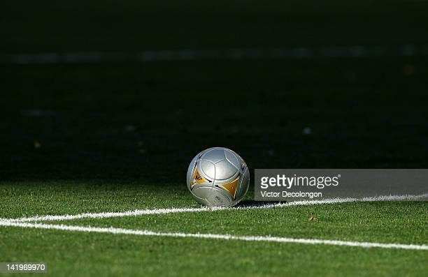 A detailed view of the game ball on the pitch during the MLS match between DC United and the Los Angeles Galaxy at The Home Depot Center on March 18...