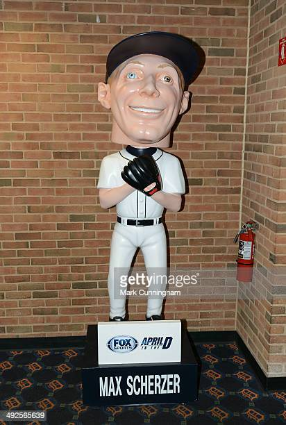 A detailed view of the giant bobble head of Max Scherzer of the Detroit Tigers inside the Comerica Park lobby during the game against the Houston...