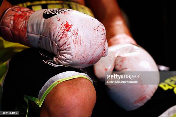 A detailed view of the gloves covered in blood from John Wayne Hibbert of England against Tyler Goodjohn of England in their WBC International Light...