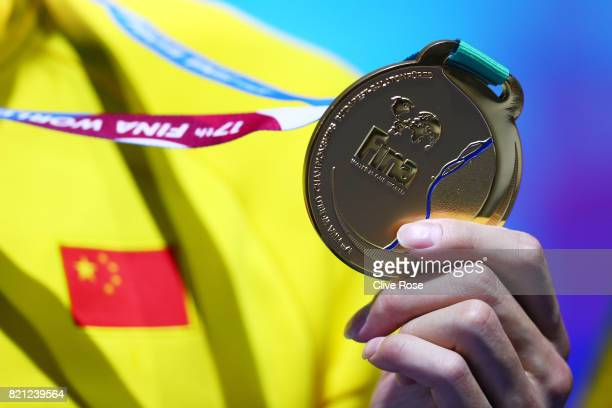 A detailed view of the gold medal as Yang Sun of China celebrates winning gold in the Men's 400m Freestyle Final on day ten of the Budapest 2017 FINA...