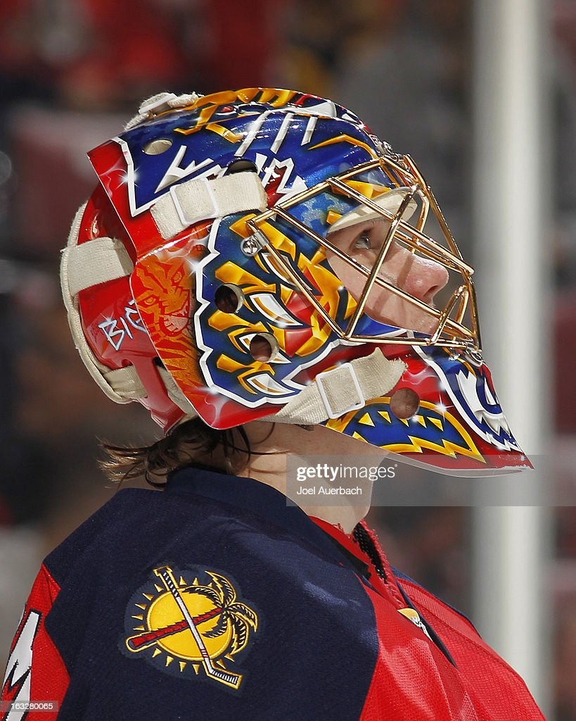 A detailed view of the graphics on the helmet of goaltender Jacob Markstrom #35 of the Florida Panthers as he watches a replay of the Jonathan Huberdeau #11 (not pictured) penalty shot during the second period against the Winnipeg Jets at the BB&T Center on March 5, 2013 in Sunrise, Florida. The Panthers defeated the Jets 4-1.