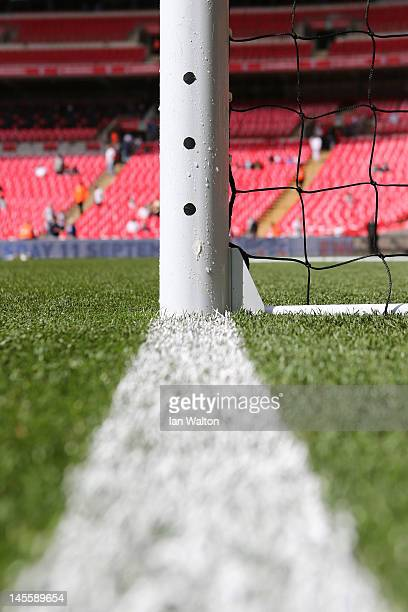 A detailed view of the HawkEye camerabased system ahead the international friendly match between England and Belgium at Wembley Stadium on June 2...