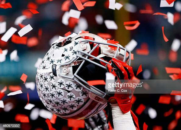 A detailed view of the helmet of Armani Reeves of the Ohio State Buckeyes celebrating after defeating the Alabama Crimson Tide in the All State Sugar...