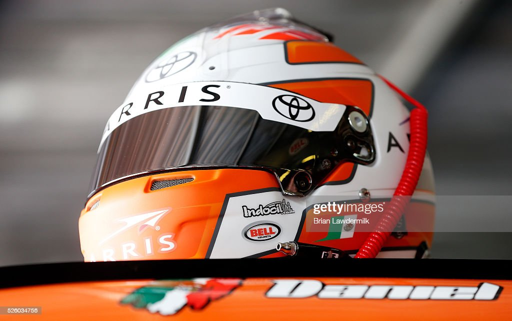 A detailed view of the helmet of Daniel Suarez, driver of the #19 ARRIS Toyota, in the garage area during practice for the NASCAR XFINITY Series Sparks Energy 300 at Talladega Superspeedway on April 29, 2016 in Talladega, Alabama.