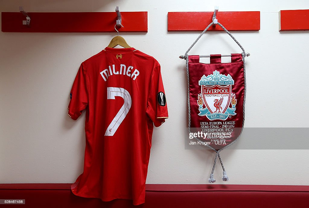 A detailed view of the home dressing room ahead of the UEFA Europa League Semi Final second leg match between Liverpool and Villarreal CF at Anfield on May 05, 2016 in Liverpool, England.