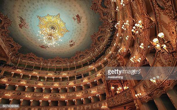 A detailed view of the interior and ceiling of La Fenice Theatre on January 29 2016 in Venice Italy On the 29th January 1996 Venice mourned the loss...