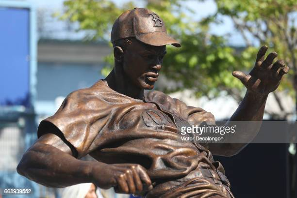 A detailed view of the Jackie Robinson statue is seen after it was unveiled at Dodger Stadium on April 15 2017 in Los Angeles California