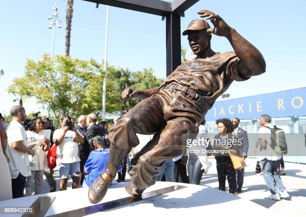 A detailed view of the Jackie Robinson statue is seen after its unveiling at Dodger Stadium on April 15 2017 in Los Angeles California